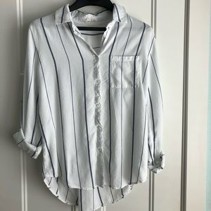 Thread and supply button down rolled sleeve top